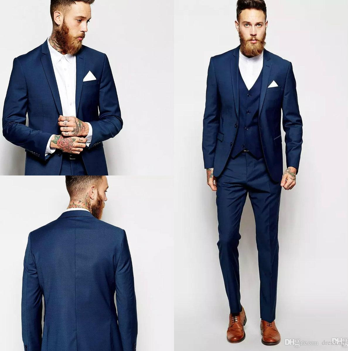 Latest Coat Pant Design Groom Tuxedos Groomsmen Slim Suits Fit ...