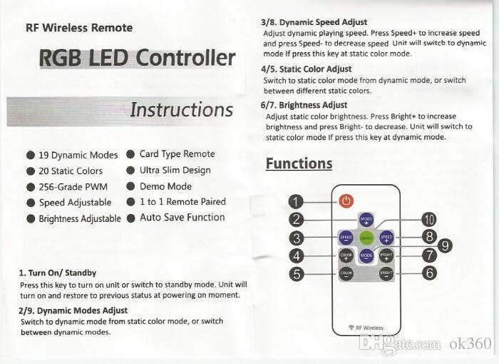 10 Anahtar RF Kablosuz Uzaktan Mini Denetleyici RGB 3528 5050 SMD Led Şerit Işık için DC 5 V-24 V Ücretsiz Kargo