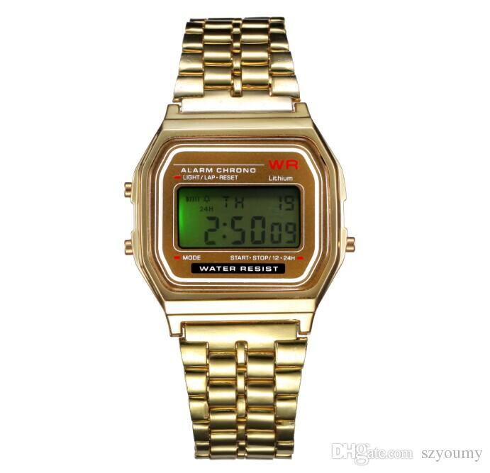 패션 LED 시계 F-91W 남성 여성 전자 시계 디지털 시계와 LED 백라이트 비즈니스 남성 시계 조절 합금 스트랩