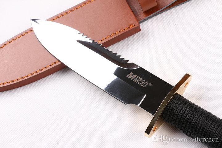11.5'' New Rope handle mirror light Back Serrated Survival Bowie Hunting Knife VTH91