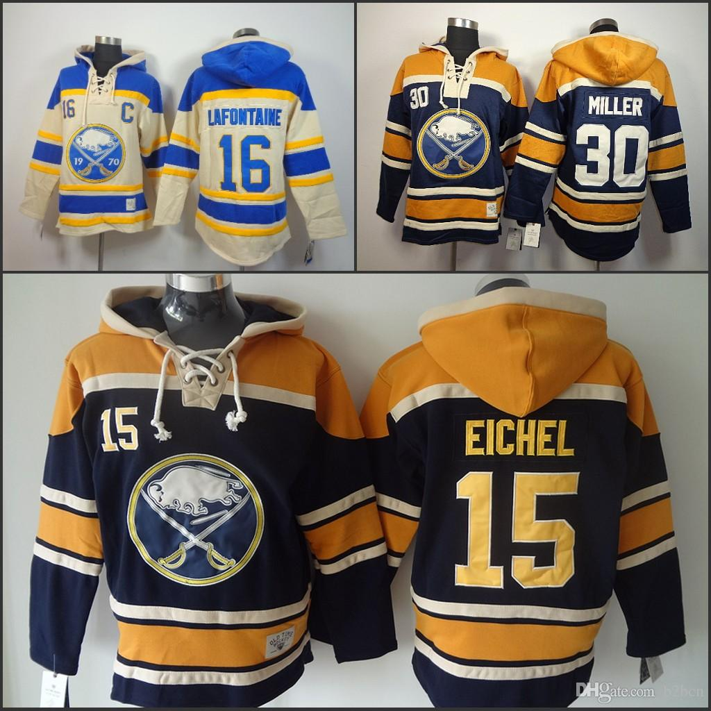 newest c3474 21e06 Buffalo Sabres 15 Jack Eichel Pullover Sweatshirt 16 Pat Lafontaine Hooded  Blue Beige 30 Ryan Miller Ice Hockey Hoody Hoodies size S-3XL