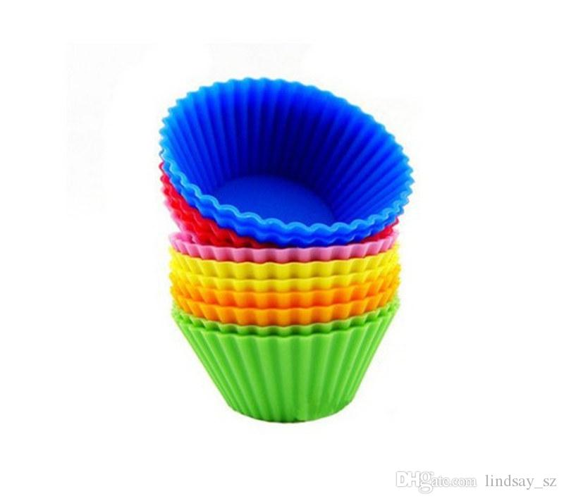 Round shape Silicone Muffin Cupcake Mould Case Bakeware Maker Mold Tray Baking Cup Liner Baking Molds fast shipping