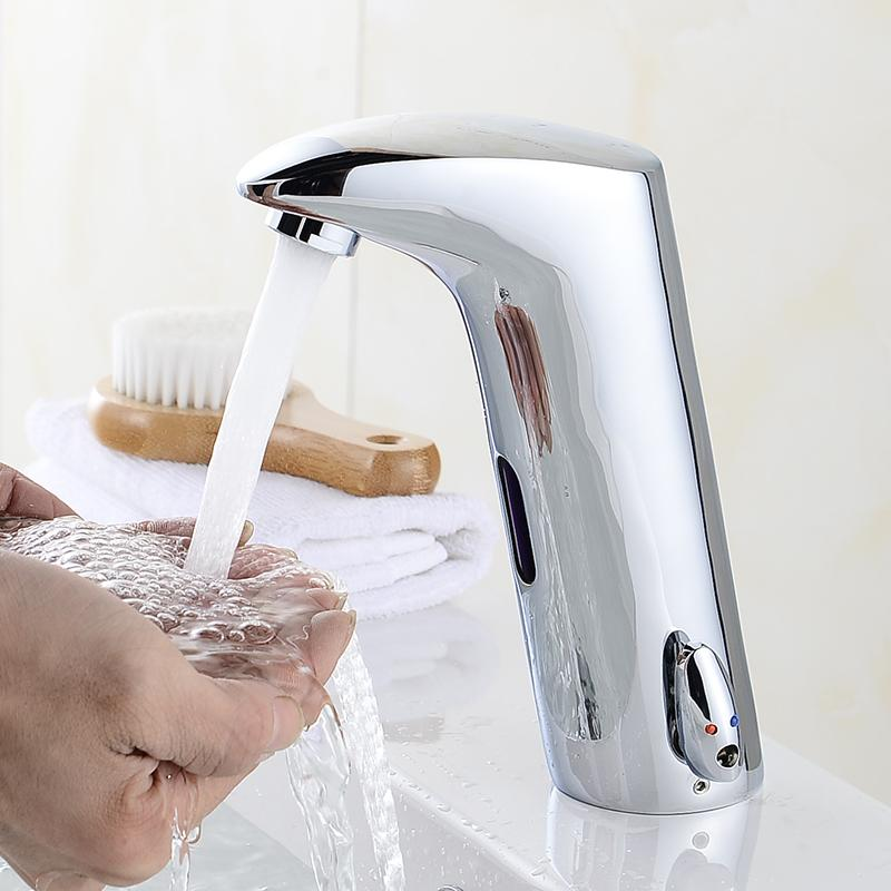 2018 Design Hot And Cold Automatic Hands Touch Free Sensor Faucet Bathroom  Sink Tap Touchless Bathroom Faucet Brass Material 408901 From Qushimei88,  ...