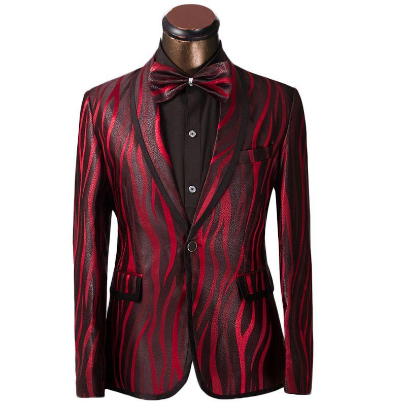 2018 Fg1509 Luxury Men Suit Unique Red Zebra Pattern One Button Suit ...