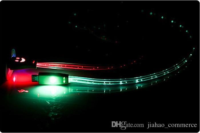 1M 3ft LED Câble USB Visible Micro V8 rétractable de charge Câbles de synchronisation de données sourire face Sync plat de nouilles données pour téléphone intelligent