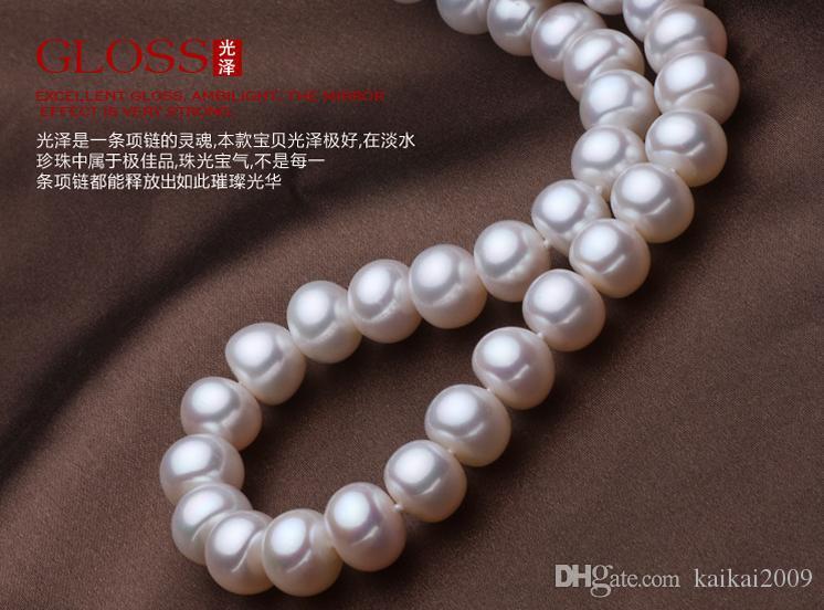 Бесплатная доставка Оптовая красивая жемчужное ожерелье Ю Фу Юань 9-10 мм сплюснутый природных жемчужное ожерелье 43 см YX11