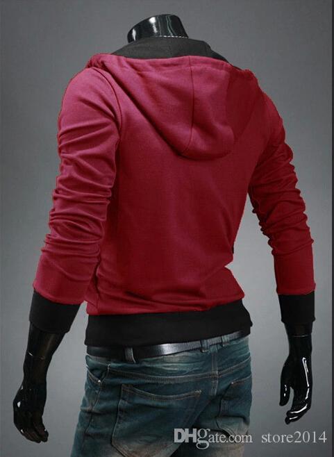 2015 شتاء جديد رجل سليم شخصية قبعة تصميم هوديس بلوزات سترات سترة القتلة العقيدة معطف