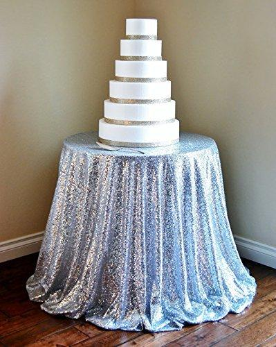 72u0027u0027Inch Round Silver Sequin Tablecloth, Silver Wedding Tablecloth, Silver Glitter  Tablecloth, Silver Sparkly Tablecloth, Table Covers For Sale Banquet ...