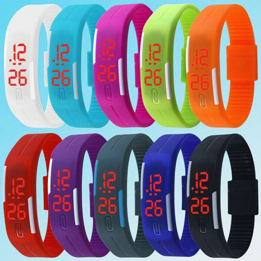 2019 New Fashion Design LED Watch Women Sports Watches Silicone Candy Multicolor Touch Screen Digital Man Wristwatch Bracelet