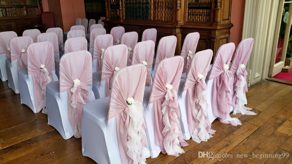 New Arrival Hot Sale Blush Pink Chair Covers Chiffon Colorful Vintage Wedding Supplies High Quality Wedding Decorations Chair Sashes