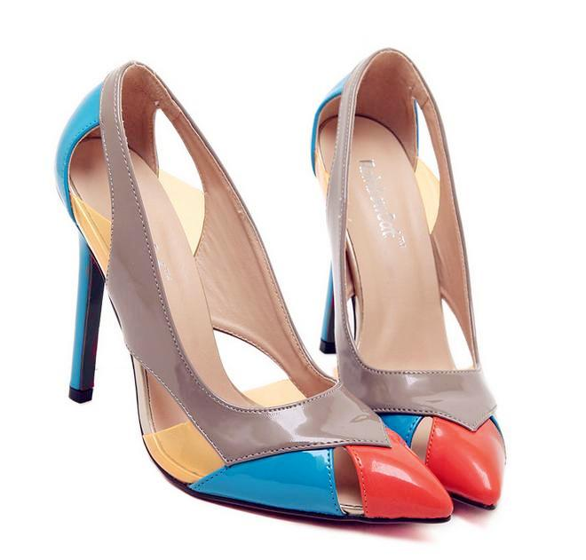 2fc44e60b6d 2015 2016 Color match hollow out ladies shoes high heels pumps pointed toe  office shoes work