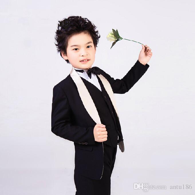 f291995c6152 Handsome Small boys suits wedding children suit jacket flower boys clothes  Four-piece suit 3 (jacket+pants+Vest+tie) custom made