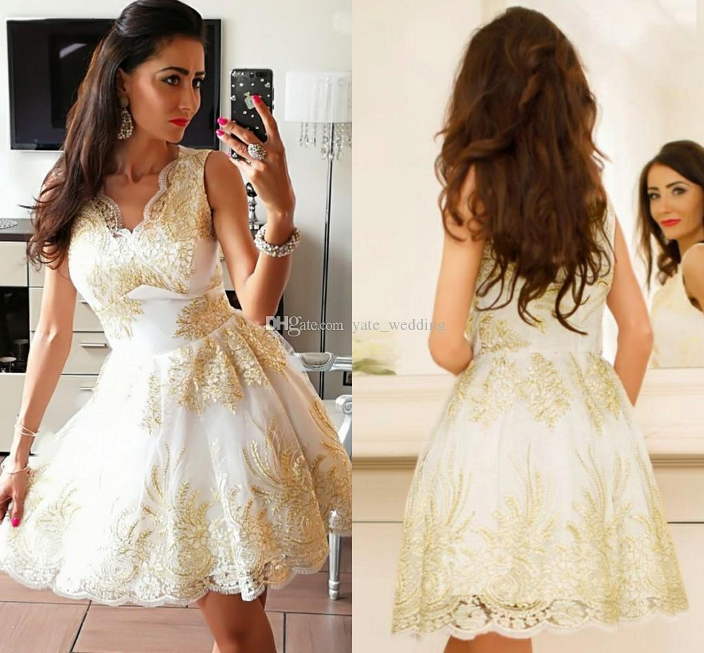 White Gold Lace Short Prom Dresses V Neck Sleeveless Lace Satin