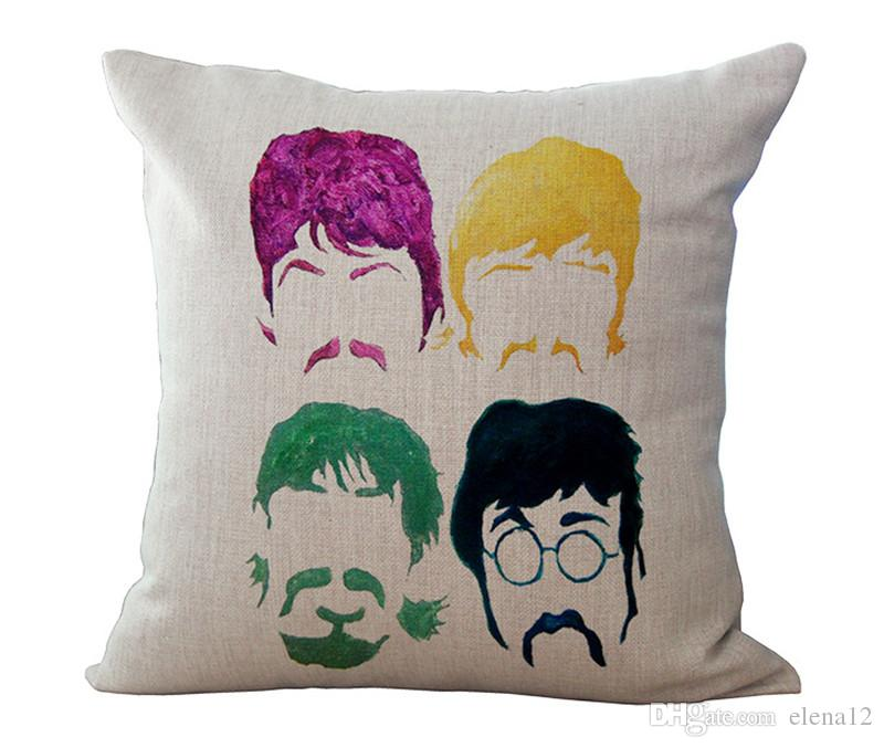 8 types Beatles band Cotton Linen Pillow Case square Cushion Covers Throw pillow covers cases Car Chair Home sofa Bedding set 240380