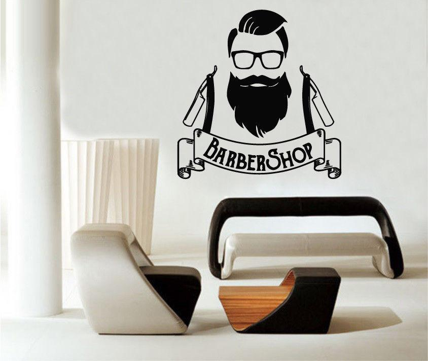 beauty salon wall decals barber shop logo hipster vinyl stickers art