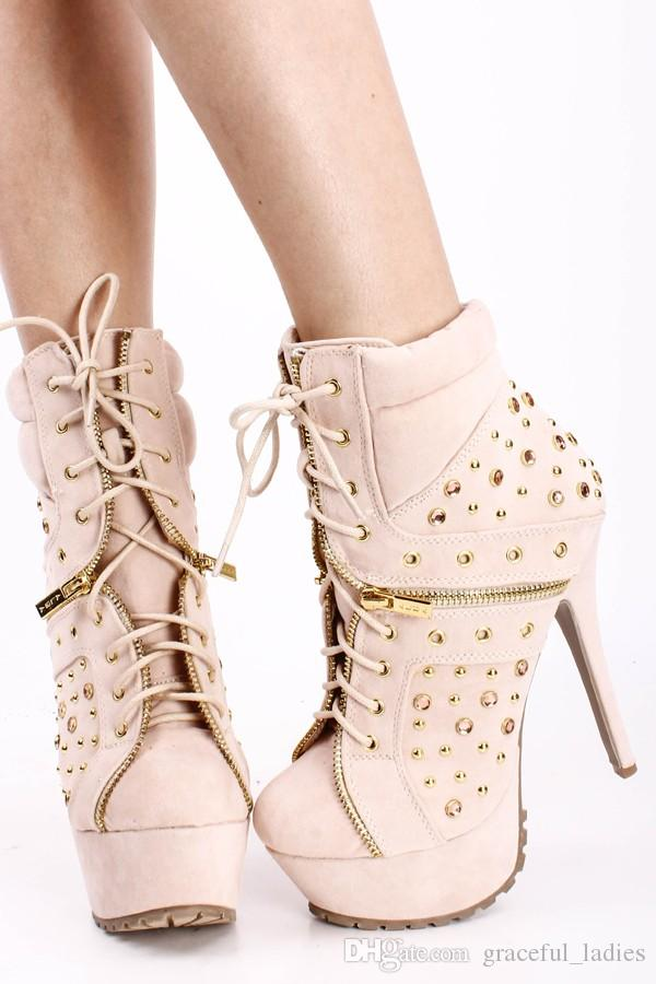 Handmade Fall Boots for Women Pumps Spiczaste palce Suede Długość kostki Boot Noga Zipper Rivet High Heel Shoes Nude / Black 2 Kolory