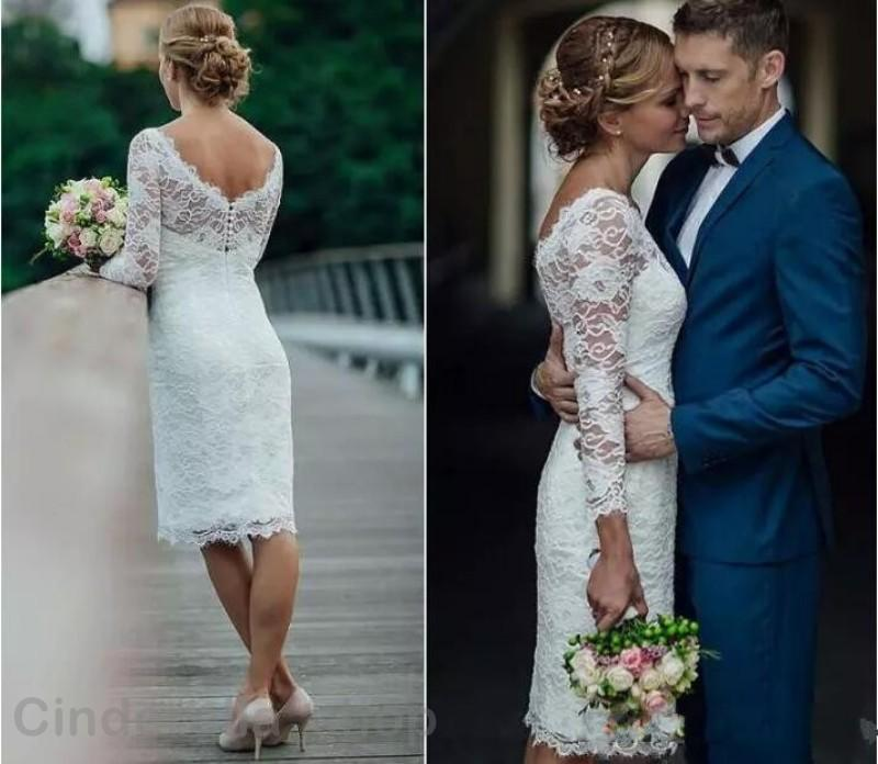 2020 Short Lace Wedding Dress Bateau Backless 3/4 Long Sleeves Sheath Illusion Bodice Knee Length Beach Country Bridal Gowns Cheap