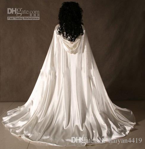 2020 venta caliente por encargo Nueva barato romántica con capucha de novia Cabo blanco marfil largas capas de boda de raso de novia de la boda Envolturas Capa nupcial