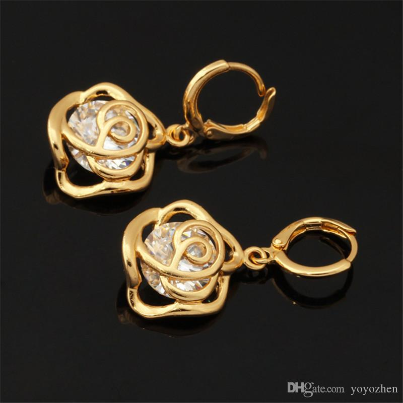 New Vintage Infinito Rosa Cubic Zirconia Brincos 18 K Real Banhado A Ouro Encantos Brincos Moda Jóias Para As Mulheres YEH5202