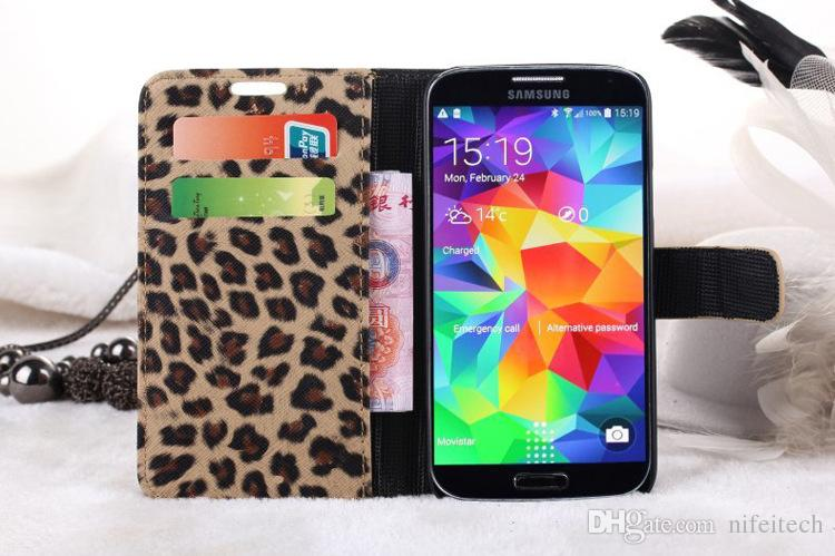 Leopard Print Pattern Wallet PU Leather Flip Case Stand With Credit Card Slot Holder For Samsung Galaxy S6