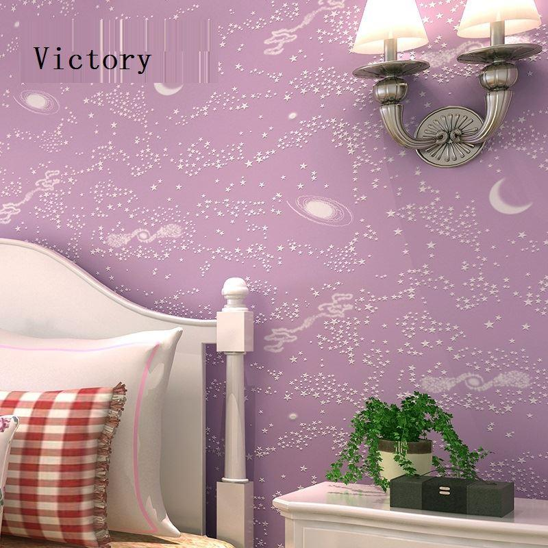 modern boys wallpaper bluepurple nonwoven of wall papers kids wallpaper blue sky stars child wall paper for bedroom home decor