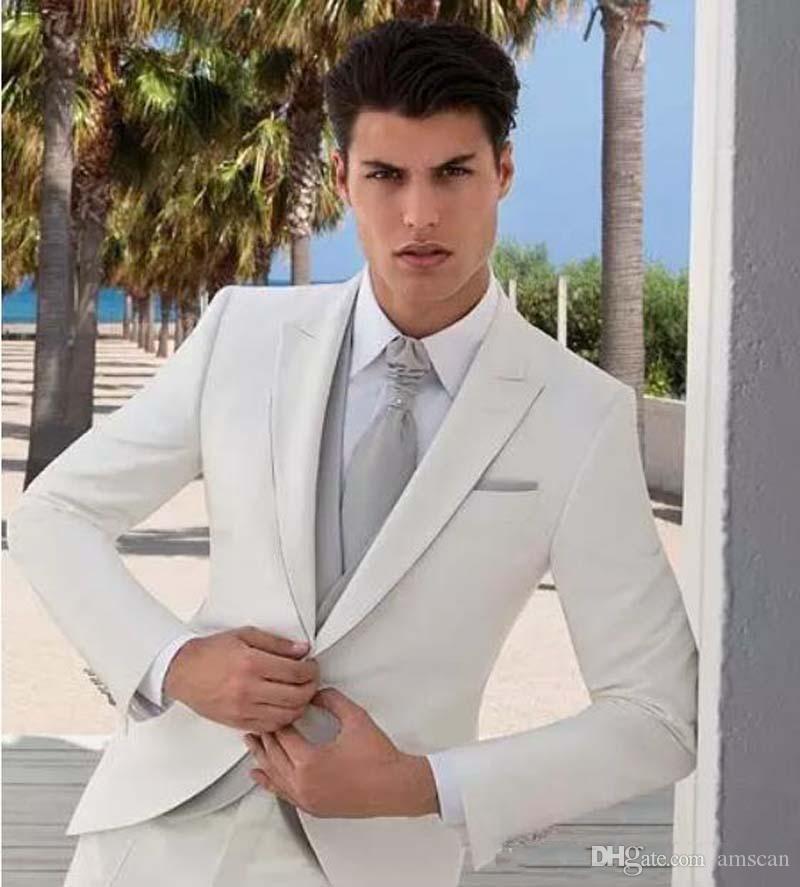 Encargo a Slim Fit Peaked Trajes solapa del novio esmoquin mejor juego del hombre del padrino de boda del novio de los hombres de 3 piezas chaqueta + chaleco + pantalones