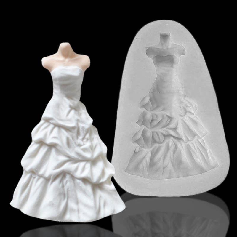 3d Mariage Princesse Robe Gâteau Moule Silicone Fondant Moule Glaçage Pâte Moules Gâteau De Cuisson Décoration