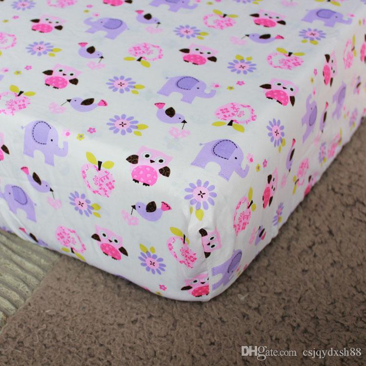 Juego de cama para bebé Púrpura Bordado 3D búho de elefante Juego de cama para cuna de bebé 100% algodón incluye edredón para bebé Cama de parachoques Falda, etc.