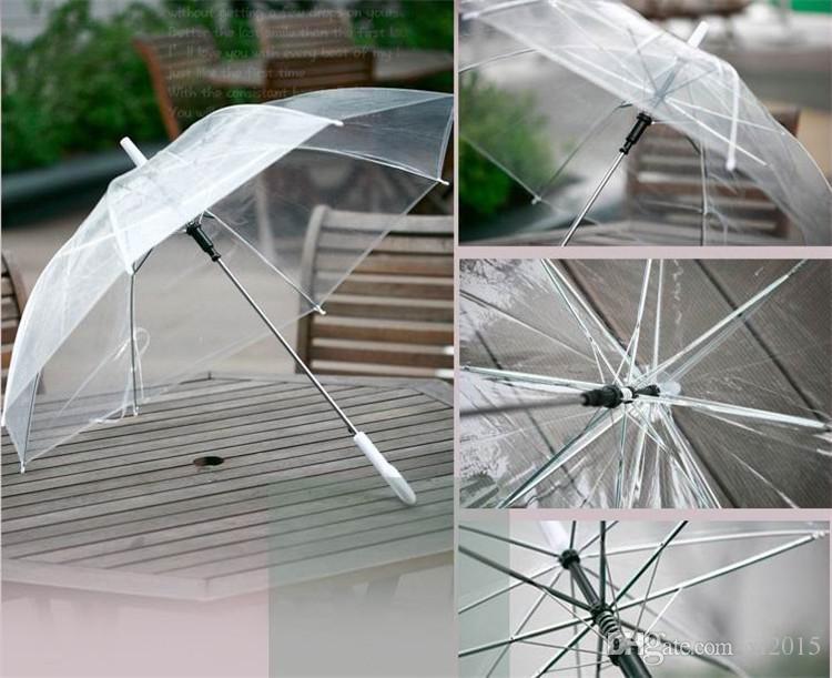Fedex Gratuit En Gros Transparent Parapluies Effacer PVC Parapluies Longue Poignée Parapluies