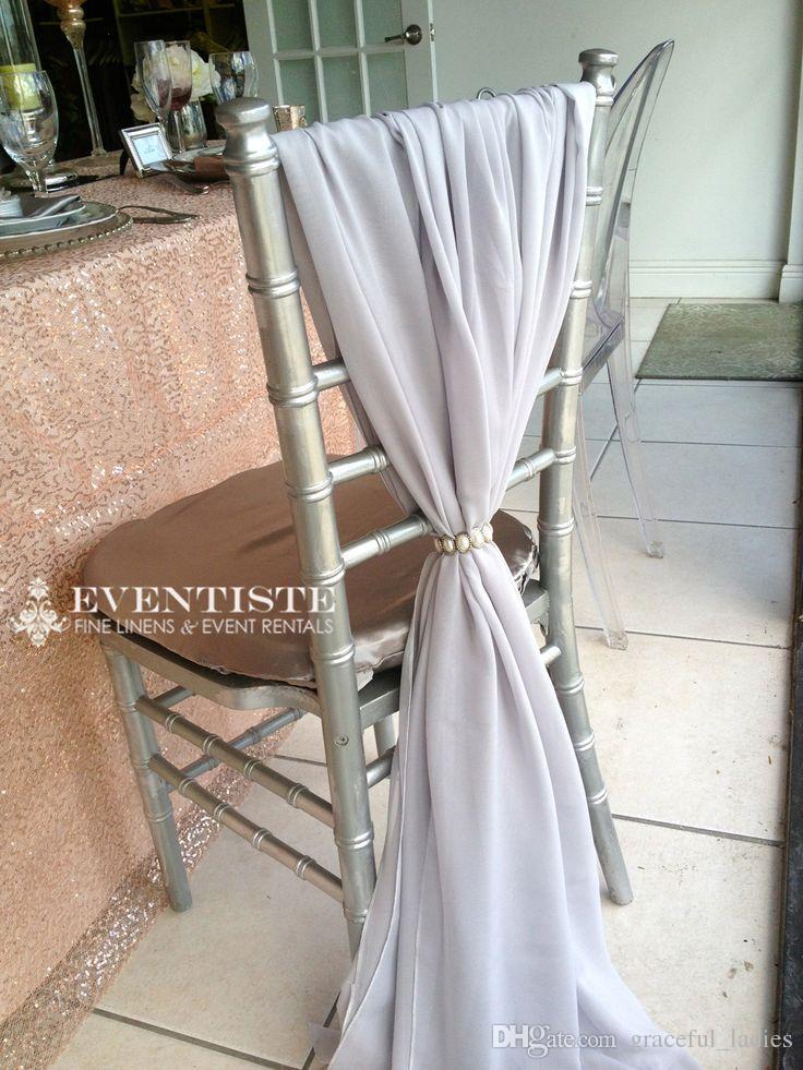 Fildişi Şifon Sandalye Sashes Düğün Deocrations Gelin Sandalye Kapakları Kanat Bow Ismarlama Renk Mevcut 20 inç W * 85 inç L