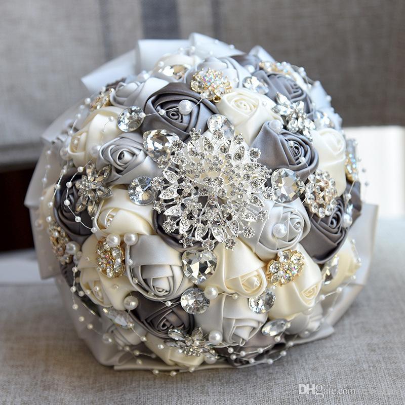 Jane Vini Kristal Ile Lüks Batı Bordo Düğün Buketleri Parlak Elmas Buket Mariage Saten Çiçekler Gelin Buketi Buque De Noiva