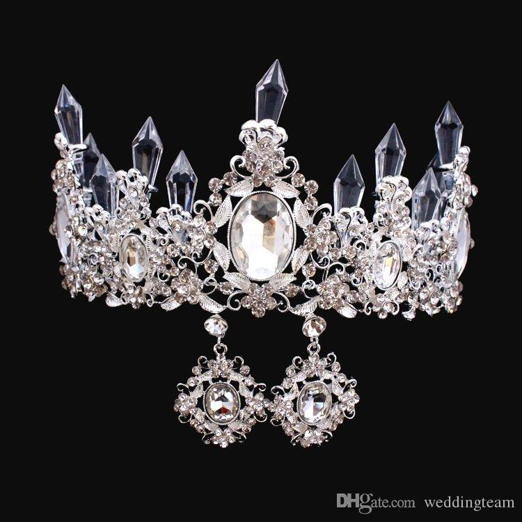Cristalli di lusso corone di nozze barocche con orecchini in argento in rilievo tiaras bridal tiaras strass testa pezzi peggiori accessori capelli a buon mercato Accessori capelli Pageant Corona