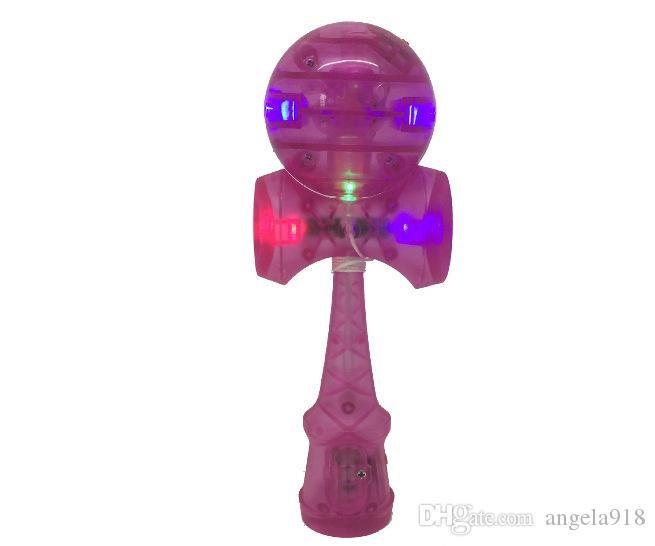 DHL 2016 게임 지능 장난감 플래시 라이트를 빛 스킬 공 18.5cm 기술 검을 공 구슬 칼 플라스틱 kendama 볼 장난감 E409
