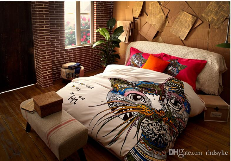 german style colorful cat horse giraffe bedding sets fashion king queen size 3d comforter bedding sets bedroom bedding quilt comforter sets from