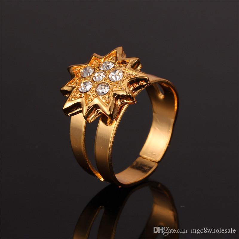 Nuevo 18 K chapado en oro Rhinestone Estrellas Conjuntos de joyas de traje Collar Pendientes Cuff Bangle Ring Joyas Regalo para mujeres MGC N1199