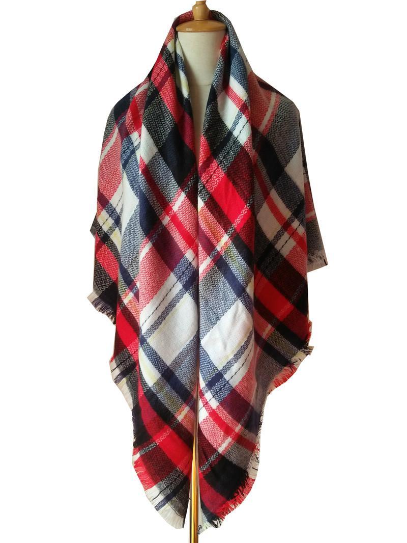 Kaschmir-Imitat Plaid Schals Pashminas Wraps mit Tassel Triangle Grid Schal Tartan Schal Winter Neckearmer Lattice Decken Frauen Kinder