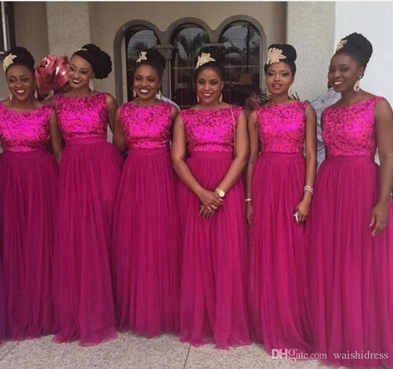 2018 New Nigerian Fuschia Sequined Bridesmaids Dresses Long Floor ...