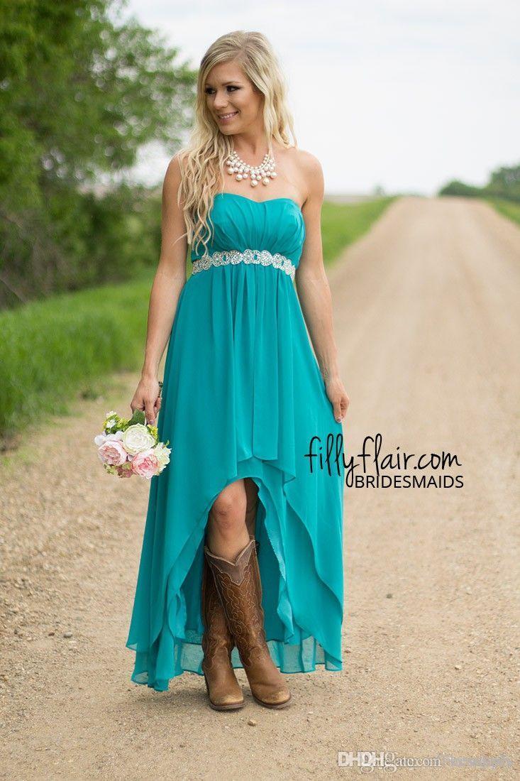 Vestidos de dama de honor de la gasa corta del estilo del cazador 2016 del país Vestidos de dama de honor modestos occidentales sin tirantes de la marea Vestidos de dama de honor bajo-100