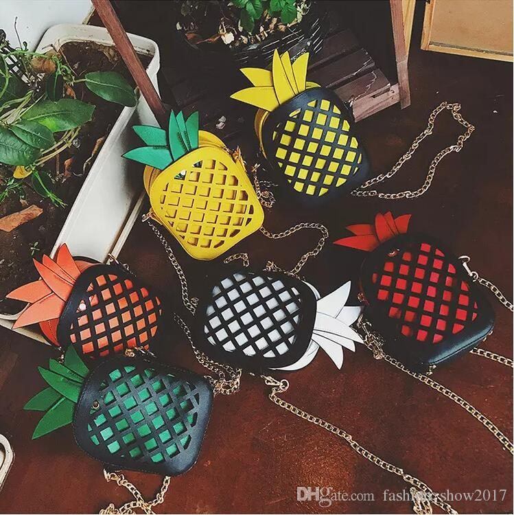 Leather Cute Handbag For Girls Lovely Pineapple Girl Messenger Bag With Chain Hollow Out PU Women Bag Mini Purse