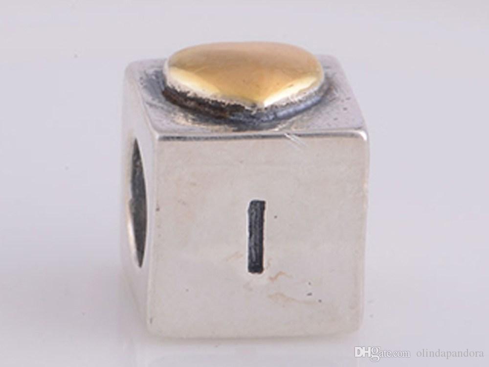 Пандора браслеты подвески очаровывает ювелирные изделия Аутентичные 925 Ale стерлингового серебра ЛЮБОВЬ золото сердце резьбой свободные шарики для женщин Micangas Perles