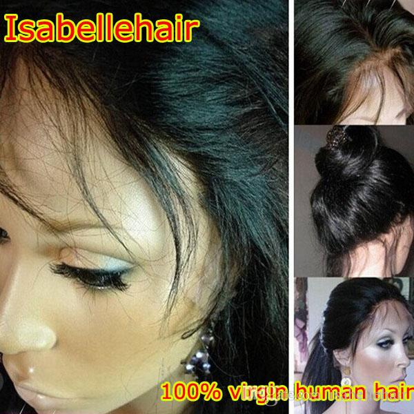 Grade 8A Light Italian Yaki Full Lace Wig / Lace Front Wigs Brazilian Hair Cheap Remy Human Hair Wig For Black Women Baby Hair