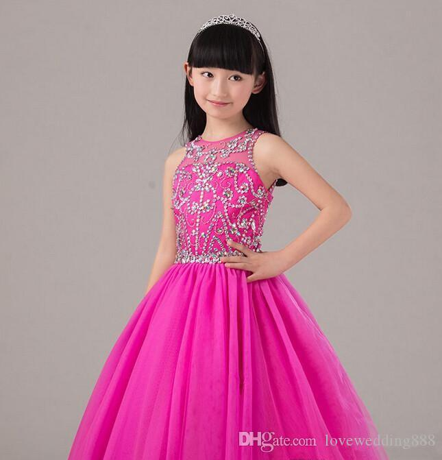 Vestito da spettacolo in rilievo rosa caldo le bambine Gonna lunga gonna in tulle bambini Abito da festa su misura