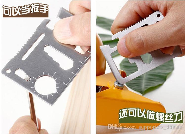 Neue Multi-Tools 11 in 1 Multifunktions Outdoor Jagd Überleben Werkzeugkarte Camping Pocket Military Kreditkarte Messer Silber schwarz