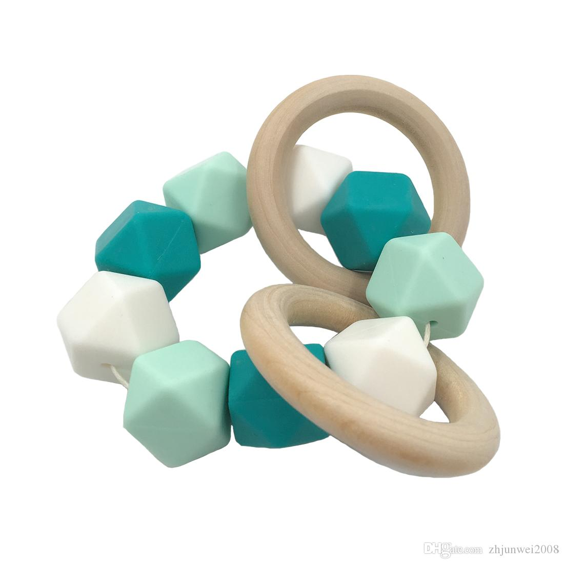혼합 된 색상 0.67in 17mm 기하학적 육각형 실리콘 구슬 아기 Teether 목걸이 / 팔찌에 대 한 DIY Baby Teether Bracelet Accessorie