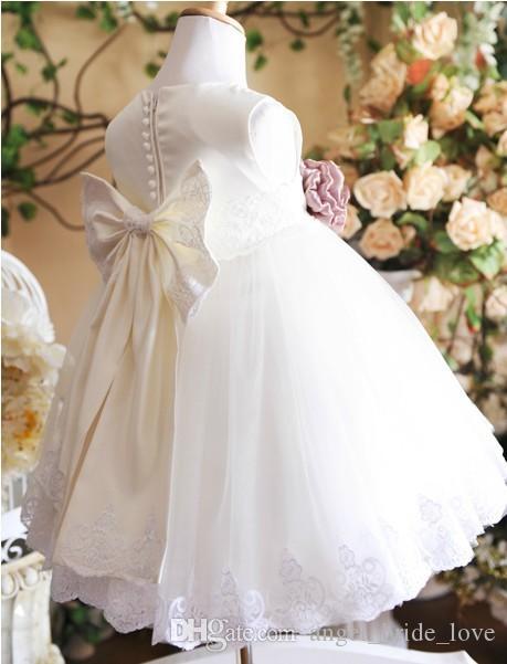 2017 Beyaz Yay Çiçek Kız Elbise Prenses Kız Pageant Çocuklar Tül Kat Uzunluk Communion Düğün Parti Elbisesi