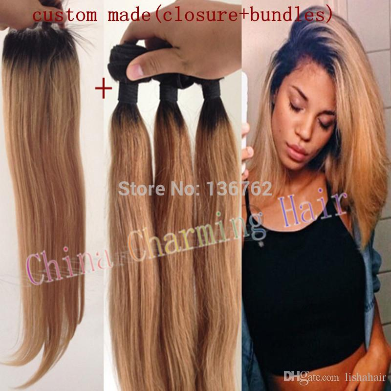 Ombre Hair Extensions #1b/27 Honey Blonde Ombre Dark Root Virgin Human Hair 3Pcs With Lace Closure Two Tone Straight Hair Weave Freeshipping