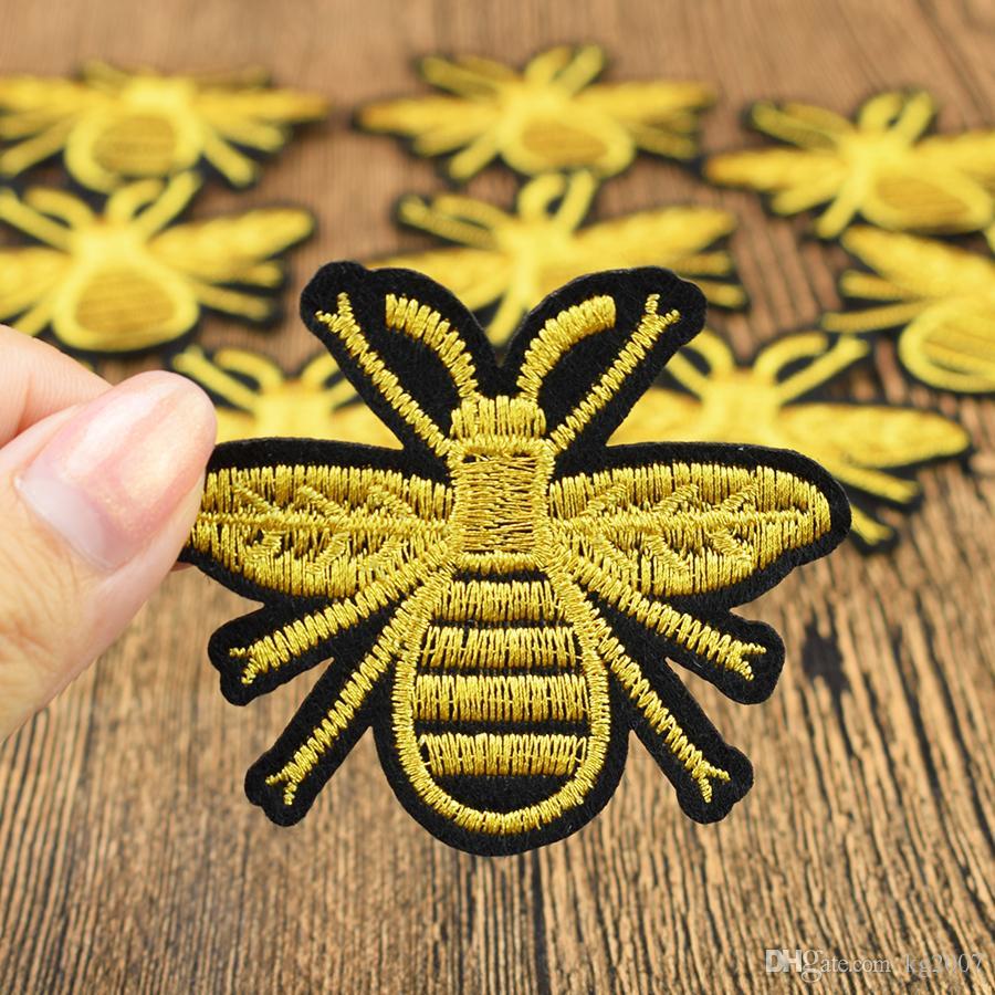 Ouro Bee Patches bordados para Vestuário ferro em transferência remendo Applique para Jeans Bags DIY Sew no bordado crianças Stickers