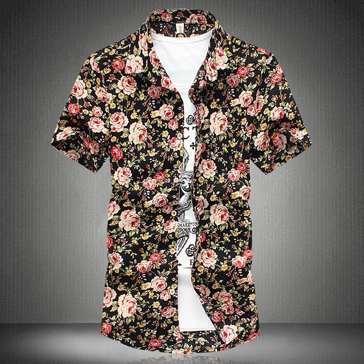 Online Cheap New Plus Size Men Floral Printed Casual Hawaiian ...