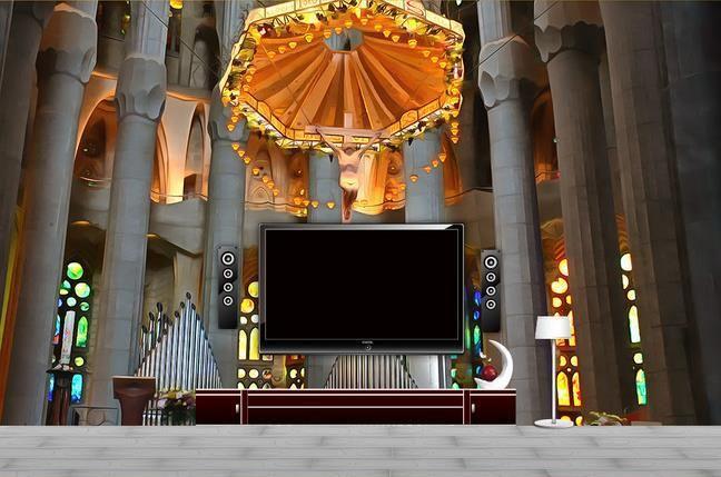 Custom 3d Mural Wallpaper Tv Backdrop Christian Church Cross 3d