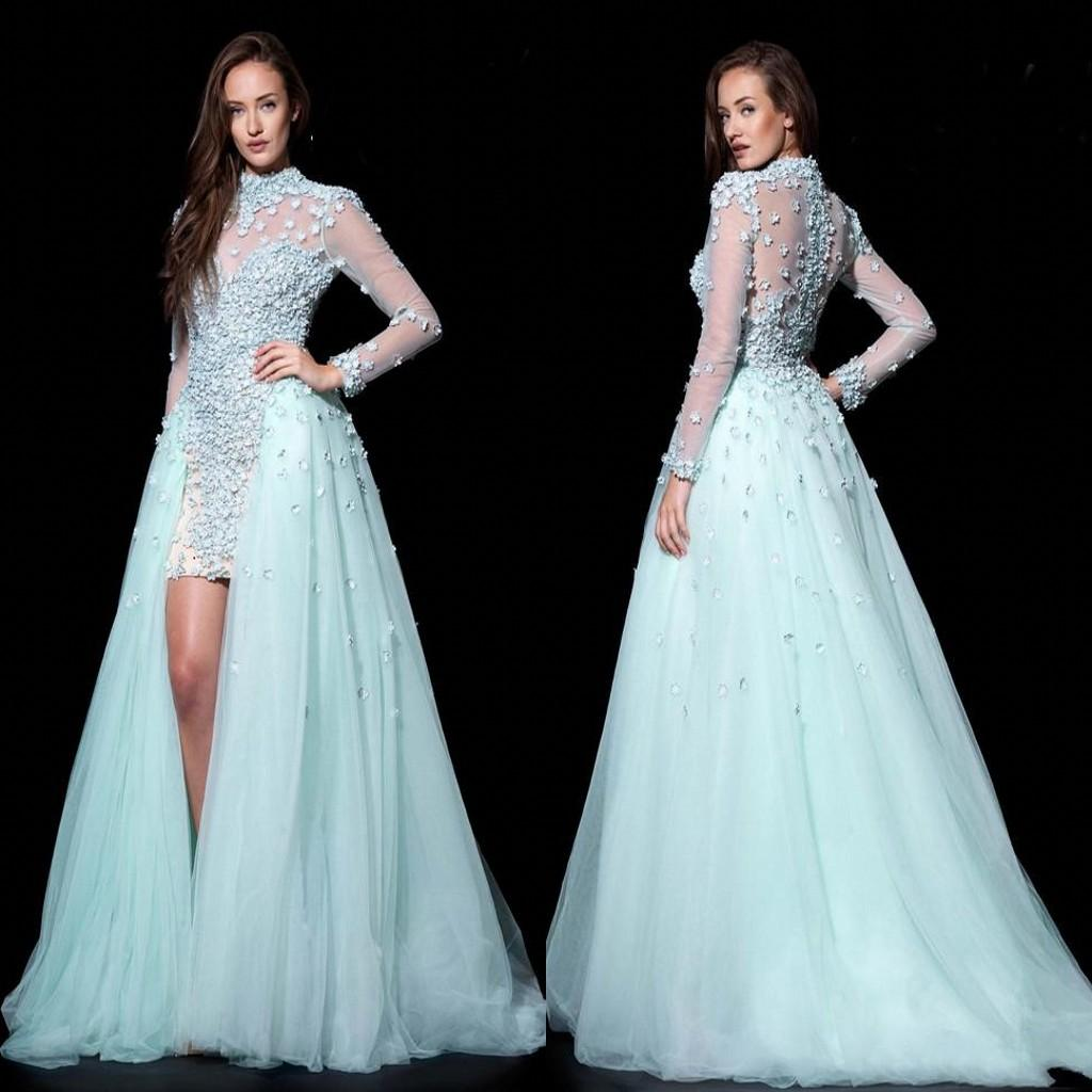 Newest Design Long Sheer Sleeve Sheath Prom Dresses With Detachable ...